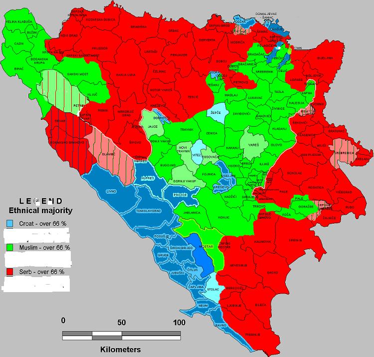etnicka mapa crne gore Etnička mapa BiH 2009 | B92 Blog etnicka mapa crne gore